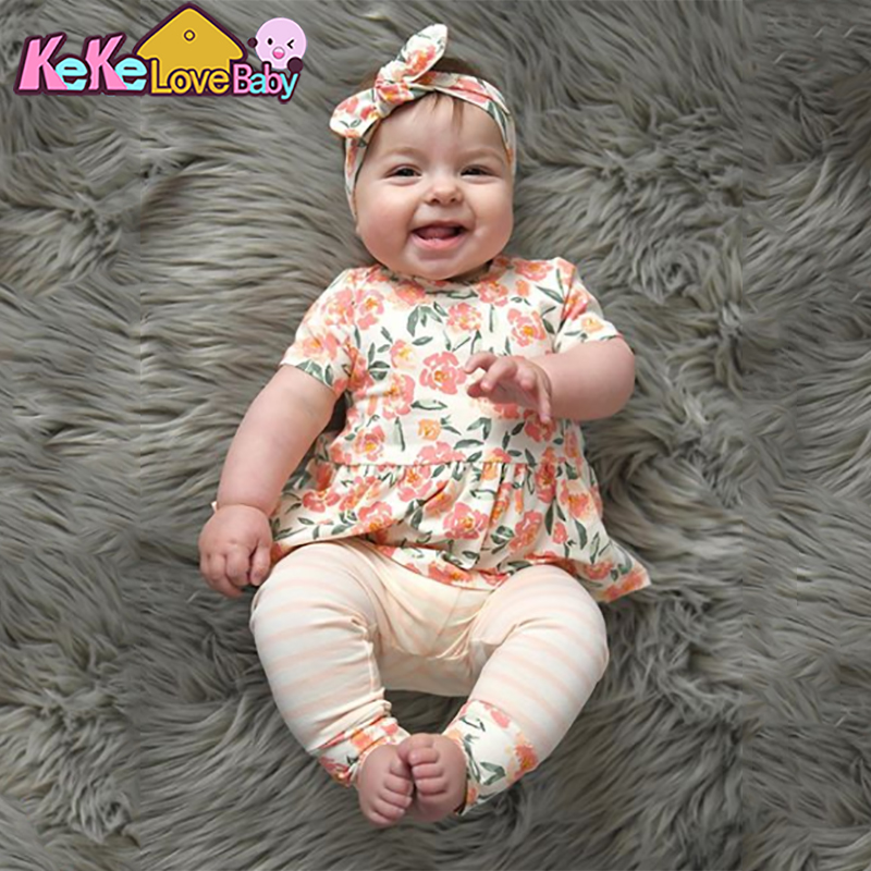 Summer Newborn Baby Girl Clothes Flower Short Sleeve T-shirt Tops Pink Stripe Pants Headband Toddler Outfits Infant Clothing Set