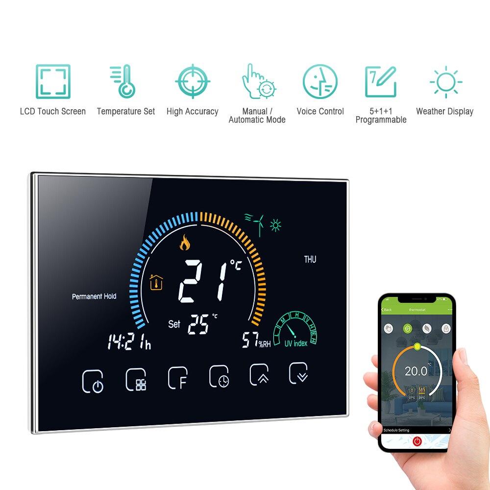 Переключаемый Wi-Fi умный программируемый термостат ℃/ ℉ с голосовым управлением через приложение, Подсветка ЖК-дисплея, терморегулятор наг...