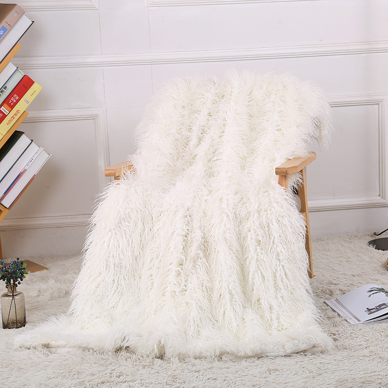 Super Soft Fuzzy Fur Faux Elegant Cozy With Fluffy Throw Blanket Bed Sofa Bedspread Long Shaggy Soft Warm Bedding Sheet Large