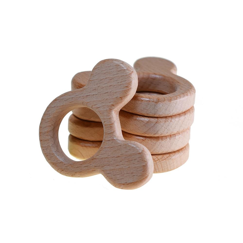 1pcs Mickey Head Cute Mouse Shape Ring Wood Teether Kid Teething Toys Baby Teethers