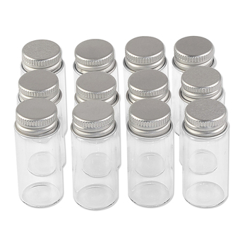 10ml Borate Container with Silver Spiral Aluminum Cap Small and Clear Mini Handicraft Glass Bottles Refillable Reusable Food Pot