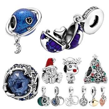 2020 zima nowy 925 srebro koraliki gwiazdy i płatki śniegu Charm fit oryginalna bransoletka Pandora biżuteria bożonarodzeniowa