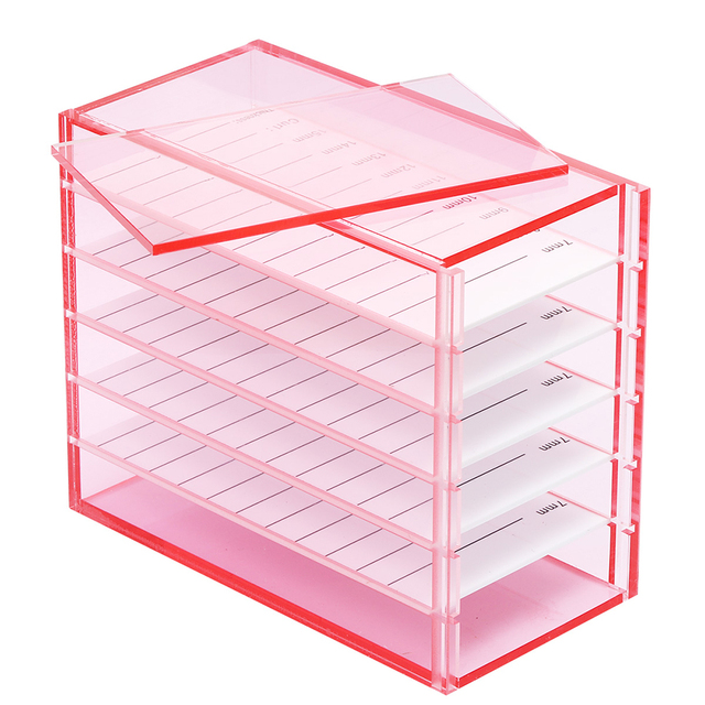 5 Layers Lash Boxes Transparent Eyelash Extension Storage Box Organizer Acrylic Lash Pallet Holder Case Grafting Eyelash Display 2