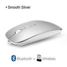 Şarj edilebilir fare kablosuz fare oyun 2400DPI optik sessiz fare bilgisayar USB fare ergonomik oyun fare PC Laptop için
