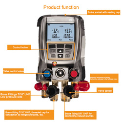 1 Pcs 570-2 Digital Manifold Pressure Gauge Data Storage Internal Vacuum Sensor Kit 4 Valves with 2 Clamps