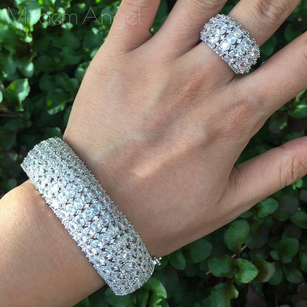 ModemAngel Fashion Luxury Super Flowers AAA Cubic Zirconia Women Party Engagement Width Bracelet Bangle And Ring Set