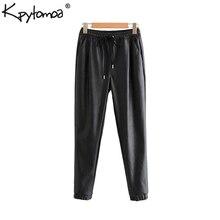 Винтажные стильные женские брюки из искусственной кожи с карманами, модные женские брюки с эластичной резинкой на талии и завязками