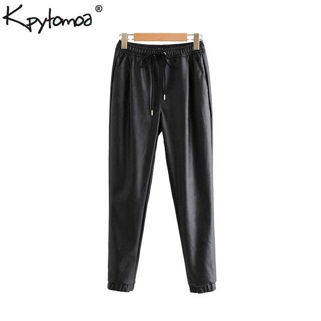Vintage Stylish Leather Pockets Fashion Elastic Waist Trousers