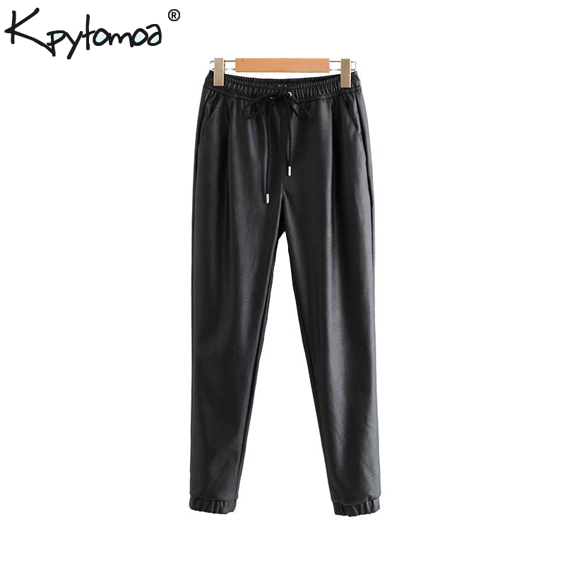 Vintage Stylish Pu Leather Pockets Pants Women 2020 Fashion Elastic Waist Drawstring Tie Ankle Trousers Pantalones Mujer 8