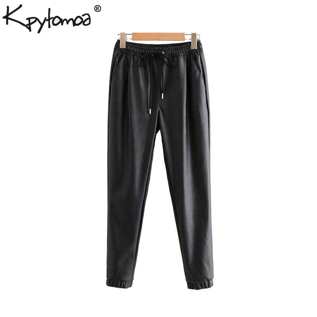 Vintage Stylish Pu Leather Pockets Pants Women 2020 Fashion Elastic Waist Drawstring Tie Ankle Trousers Pantalones Mujer 27