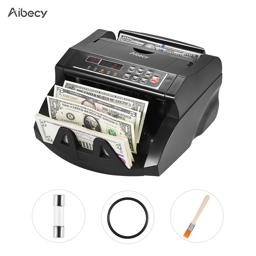 Aibecy Multi Currency Banknote Counter Cash Money Bill Automatic Counting Machine IR/DD Detect LCD Display for US Dollar EuroMoney Counter/Detector   -