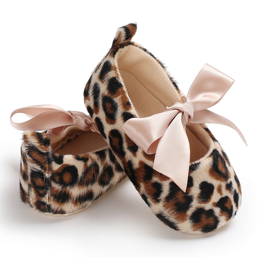 Newborn Baby Boys Girls Shoes Fashion Leopard Print Bow Soft Anti Slip Toddler Shoes Spring Autumn Baby First Walkers 0-18M