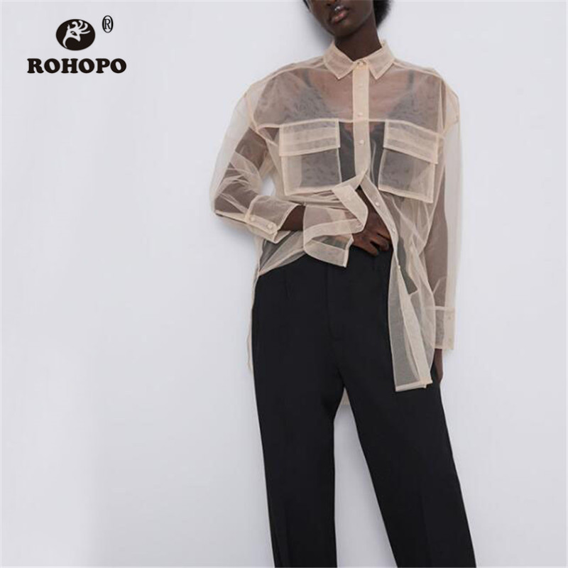 ROHOPO Women Mesh Straight Khaki Long Blouse Top Pockets Round Edge Transparent Chic Solid Top Tulle Shirt #UK9493