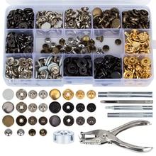 120 zestaw zatrzaski montażowe Kit + 20 zestaw Double Cap naciśnij ćwieki nit przyciski + 6 sztuk narzędzia do mocowania na płaszcz skórzany dół kurtki