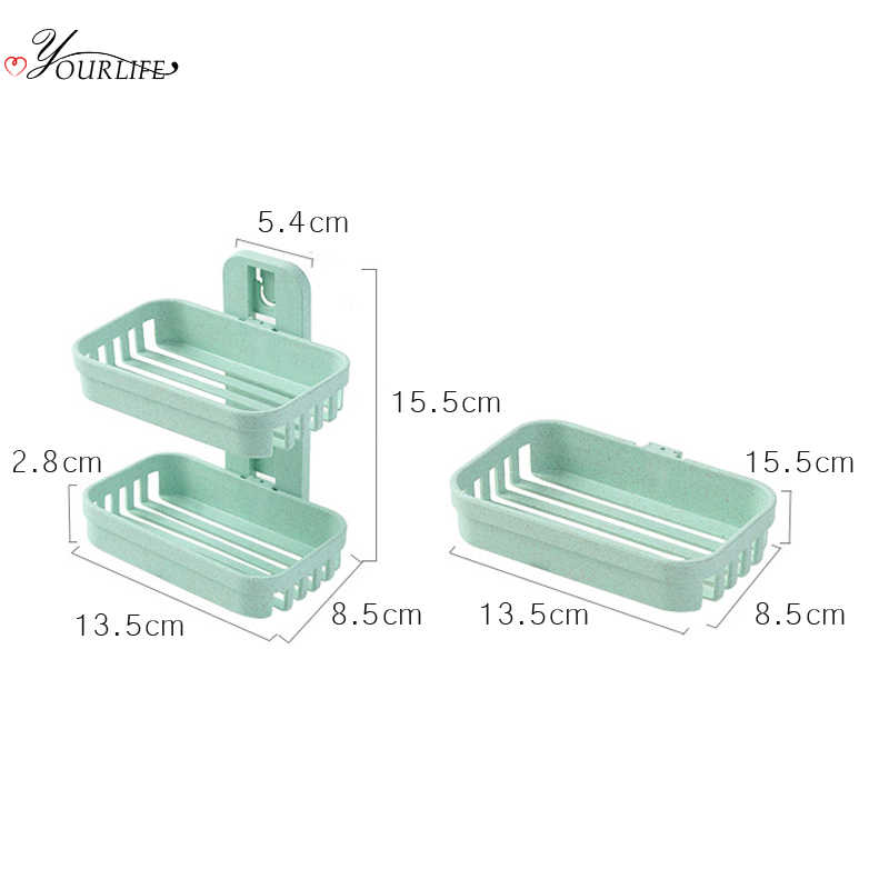 AM/_ Double Layer Wall Mounted Suction Cup Bathroom Shower Soap Box Case Jain