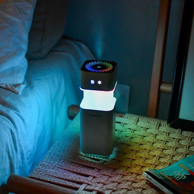 Humidificador de aire USB de carga Spin decoloration Led luz de noche aromaterapia difusor de aroma de aceite esencial casa Coche Oficina