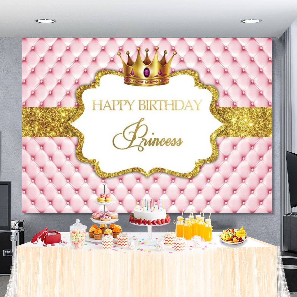 Princess Backdrop Photography Gold Crown Pink Headboard Sofa Happy Birthday Party Poster Portrait Photo Background Photo Studio
