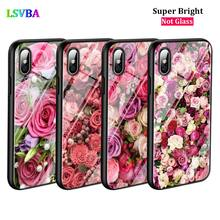 Black Cover Pink Roses Bouquet for iPhone X XR XS Max for iPhone 8 7 6 6S Plus 5S 5 SE Super Bright Glossy Phone Case black cover japanese samurai for iphone x xr xs max for iphone 8 7 6 6s plus 5s 5 se super bright glossy phone case