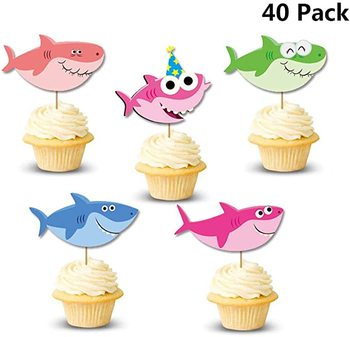 Shark Cupcake Toppers - 40 Pieces Little Cake Topper for Under The Sea Theme Birthday Party, Baby Shower Party
