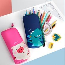Stationery Pencil-Case Pen-Girl School-Supplies Children Kawaii Waterproof UEK Zip