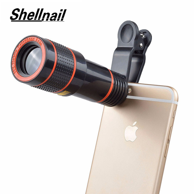 SHELLNAIL Phone Camera Lens Universal Clip 8X 12X Zoom Cell Phone Telescope Lens For iPhone External Telescope Phone Accessories(China)
