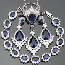 Drop Dark Blue Cubic Zirconia Silver 925 Costume Jewelry Sets For Women Earrings/Rings/Pendant/Necklace/Bracelets Free Gift  Box