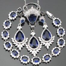 Drop Dark Blue Zirconia Zilver 925 Kostuum Sieraden Sets Voor Vrouwen Oorbellen/Ringen/Hanger/Ketting/armbanden Gratis Geschenkdoos