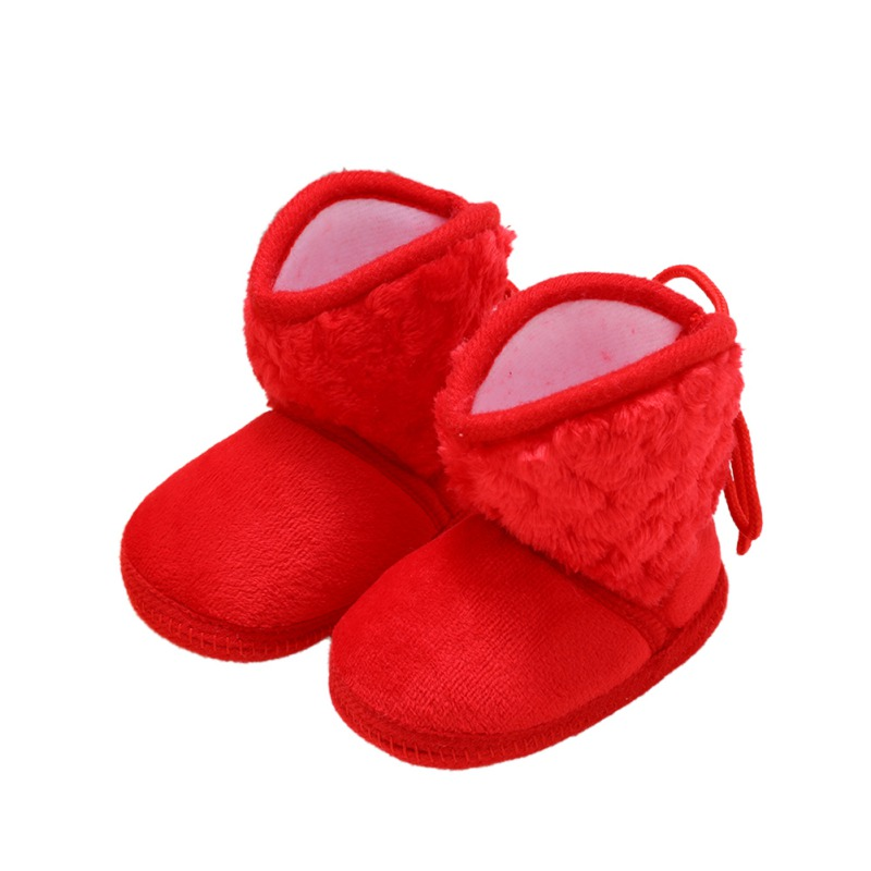 Newborn Baby Boots Baby Winter ShoesInfant Warm Solid Color Plus Velvet Tie Flowers Baby Girl Shoes Boots 0-18M