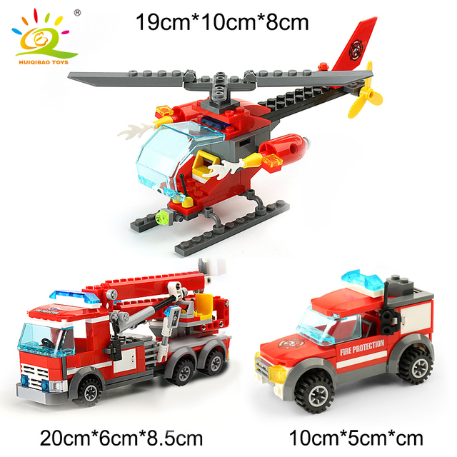 HUIQIBAO 774pcs Fire Station model Building Blocks truck helicopter Firefighter Bricks city Educational Toys For Children gift