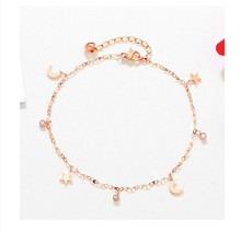 Hot sale S925 rose gold anklet, Japanese and Korean version of women's anklet anklet, white copper jewelry, stars, moon anklet jc rubber stamps and metal cutting dies scrapbooking craft house pet dog s home stencil for card making album sheet decoration