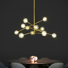 Postmodern Gold LED chandelier lighting Nordic luxury Copper hanging lights living room home deco pendant lamp bedroom fixtures