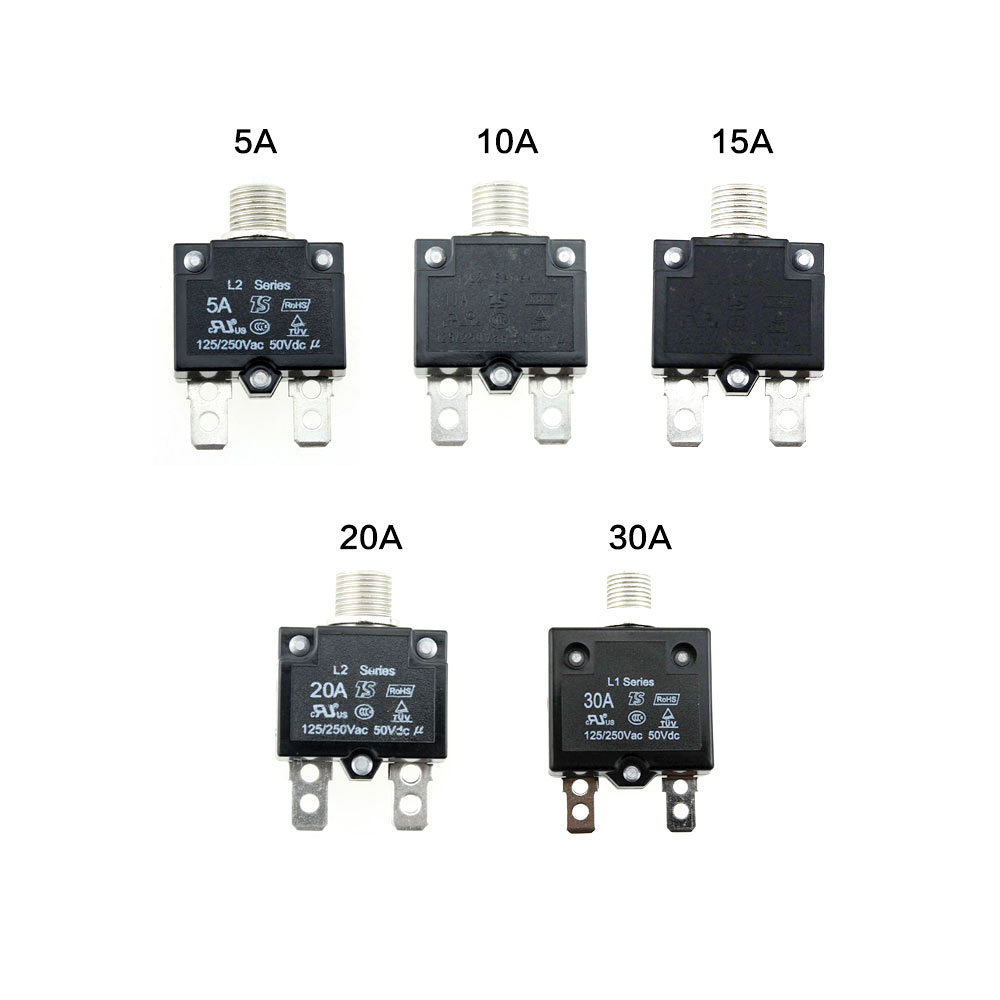 Iztoss devre kesiciler su geçirmez Push Button sıfırlanabilir termal sigorta DC50V AC125-250V hızlı bağlantı terminalleri ile