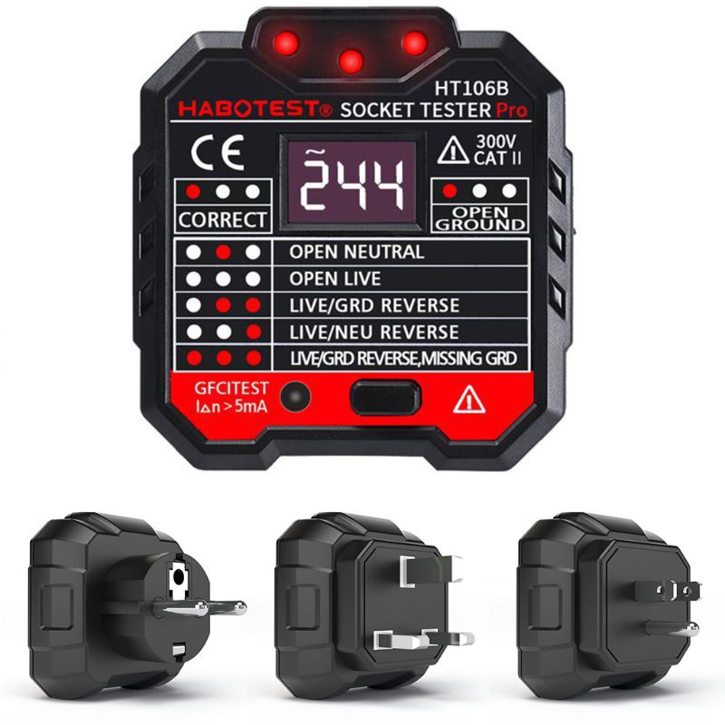 HT106 Digital Display Plug in Socket Voltage Outlet Tester Electric Fault Checker Advanced Circuit Line Wall Plug Finder|Circuit Breaker Finders| |  - title=