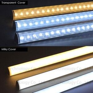 Image 4 - 4 stücke AC220V LED bar licht V form Dreieck aluminium profil LED Starren Streifen mikly/Transparent abdeckung Für Schaufenster schrank Küche