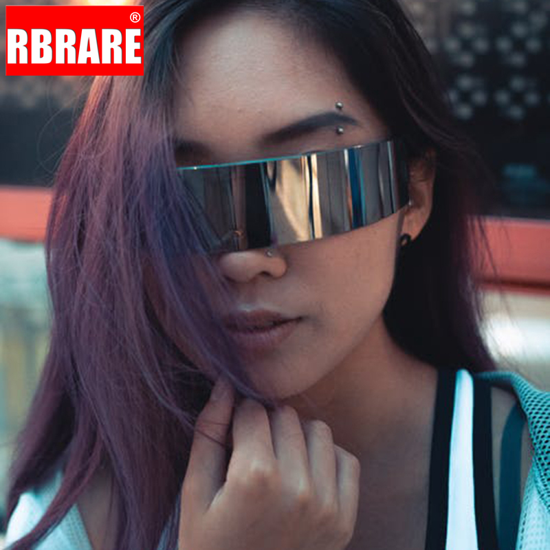 RBRARE Funny Futuristic Wrap Around Monob Costume Sunglasses Mask Novelty Glasses Halloween Party Ring Decoration Glasses(China)