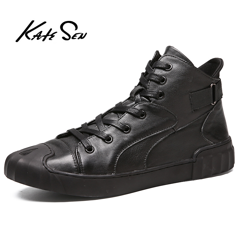 KATESEN new men boots fashion Genuine Leather ankle mens leather suede quality warm non-slip work