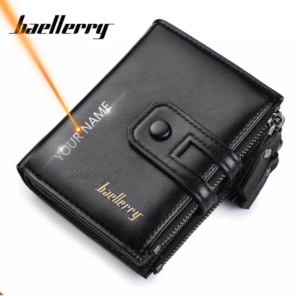 Name Engraving Men Wallets Leather Double Zipper Card Holder Short Male Purse Coin Pocket Vintage Brand High Quailty Men Wallets