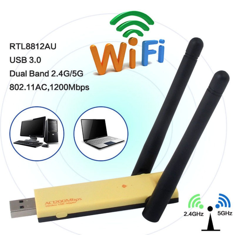 2.4 / 5 GHz USB WiFi Dongle Wireless Network Adapter 1200Mbps With Dual Antenna For PC Laptop