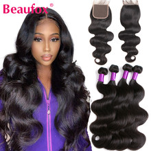 Beaufox Body Wave Bundles With Closure Brazilian Hair Weave 3 Bundles With Closure Remy Natural Human Hair Bundles With Closure