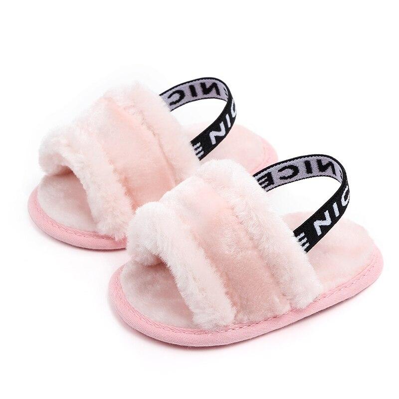 Simple Elastic Baby Prewalker Autumn Winter Soft Hair Baby Girl Prewalker Slipper Classic Breathable Baby Fur Indoor Shoes