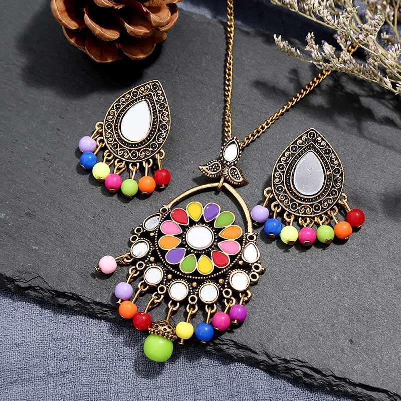 Livraison gratuite nouvelles femmes Vintage rétro argent-couleur africaine pierres colorées bijoux de mariage collier boucles d'oreilles ensembles meilleur cadeau