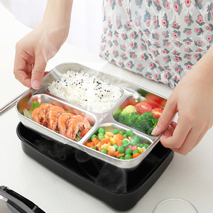 ONEUP Portable Compartment Insulation Lunch Box Stainless Steel 304 Japanese Office Staff Separated Microwave Heating Bento box