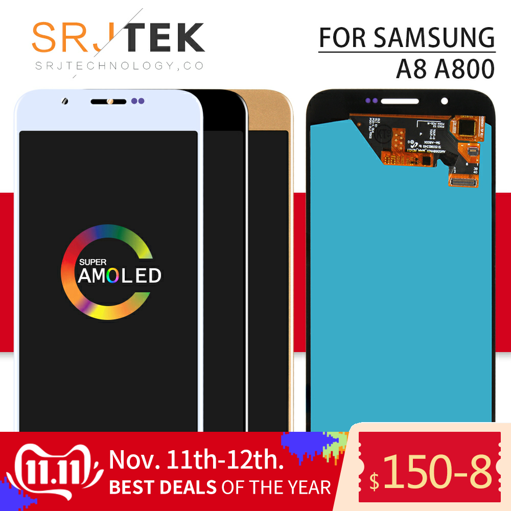 AMOLED Srjtek For Samsung Galaxy A8 A800 A800F Display Touch Screen Digitizer Panel Assembly Replacement Frame For A8000 LCD