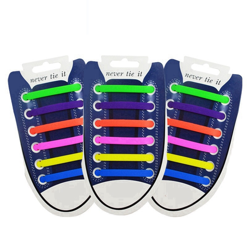 Elastic Shoelaces Silicone Shoe Laces No Tie Adult Child Sneakers Flat Shoelace Outdoor Leisure Lazy Laces 12 Pcs/ 1 Package