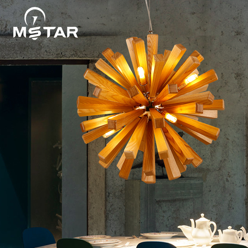 Nordic Wood Chandelier Designer Art Individuality Dining Room Ashtree Wooden Chandelier Chandelier En luminaria pendente