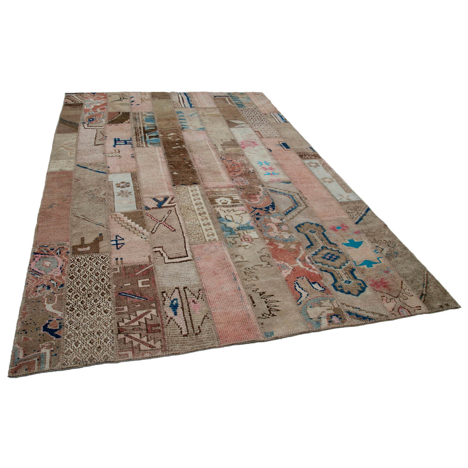 196x289 Cm Beige hecho a mano Patchwork Rug-6x9 Ft