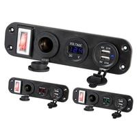 DC 5V 2.1A + 2.1A caricatore per auto doppio USB 12V 24V Display a LED voltmetro digitale accendisigari pannello interruttore presa di corrente