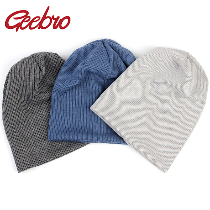 Geebro 2020 New Women Stretch Ribbed Slouchy Beanies Hat Men Winter Autumn Baggy Cotton Striped Knitted Skullies Gorros Caps