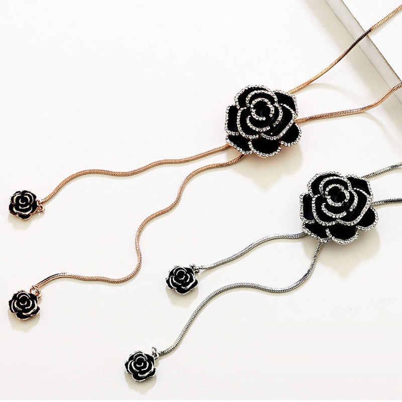 Camellia ดอกไม้หรูหราเครื่องประดับ Collier Femme สร้อยคอยาวสำหรับผู้หญิง