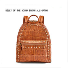 gete crocodile  Backpacks new leather trend large capacity bag alligator belly fashionable lady women backpack bev new alligator leather single shoulder bag fashion trend leisure lady real crocodile bag women chain bag female bag black